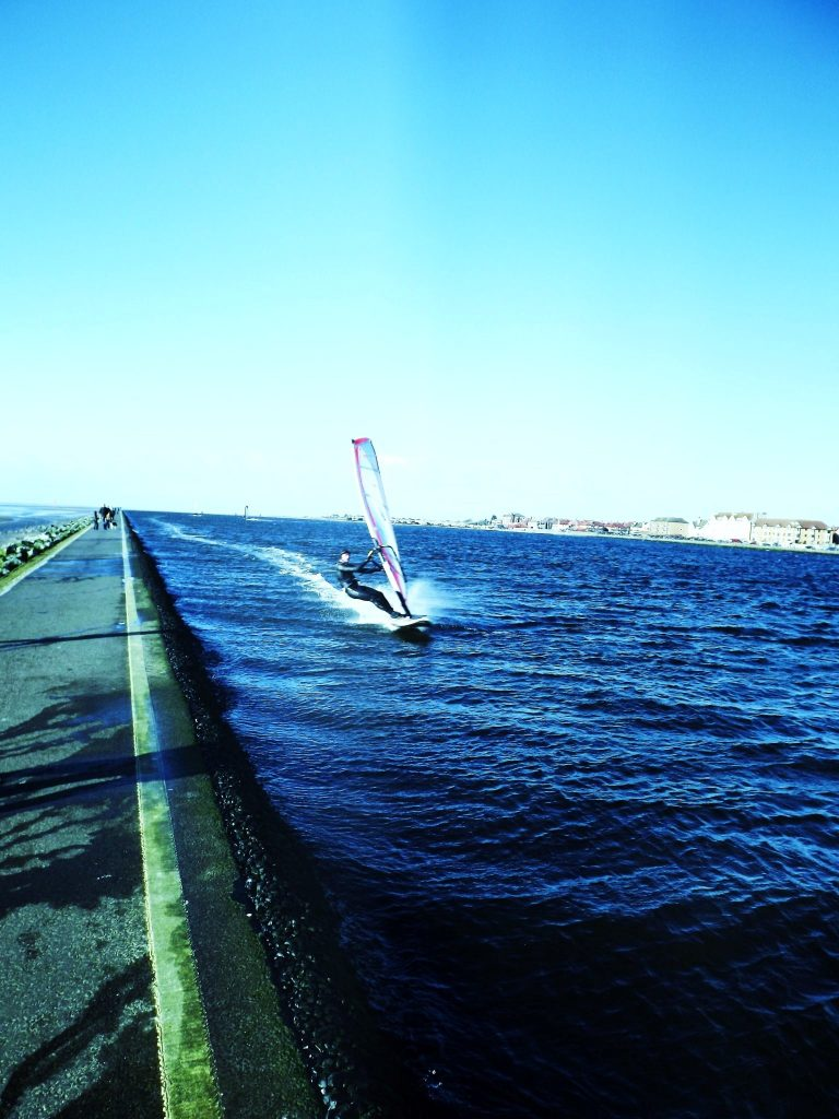windsurfing at west kirby marine lake wirral